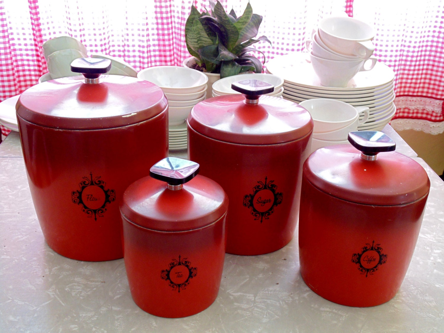 Retro Kitchen Canister Set Burnt Orange Tomato By Ourvintagehouse