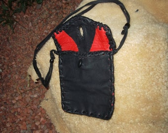 Sale Hand Laced Black Deerskin fully lined in Red Leather Whatchamacallit Bag Mini-Tablet Case
