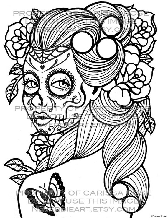 day of the dead tattoo flash digital download print your own coloring book outline page - Day Of The Dead Coloring Pages