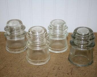 Glass Insulators - set of 4 - Hemingray - Armstrong
