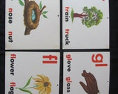 Vintage Old School Large Flash Card - Vowels Consonants - Choice of Gloves Nest Flower Tree