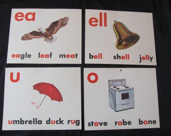Old School Large Flash Card Poster - Vowels - Choice of Bell Umbrella Eagle Stove