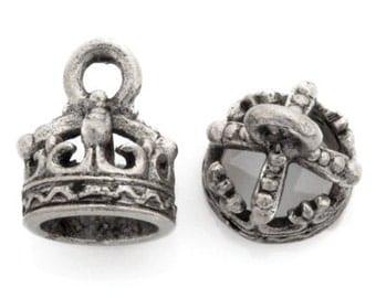Pewter Charm-7x9mm Crown Bead Cap-Antique Silver-Quantity 1