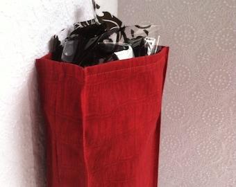"Holiday gift wrap. Christmas gift bag. Red bag, Resuable gift wrap, eco friendly, 12"" x 5"" x 2"""