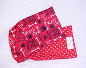 Male Dog Belly Band Pet Wrap Diaper Red Woof  Fabric Custom Sizes To 30""