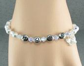 White Bracelet, Hope Bracelet, Pearl Bracelet, Opal AB Crystal Bracelet, Hope Silver Bracelet