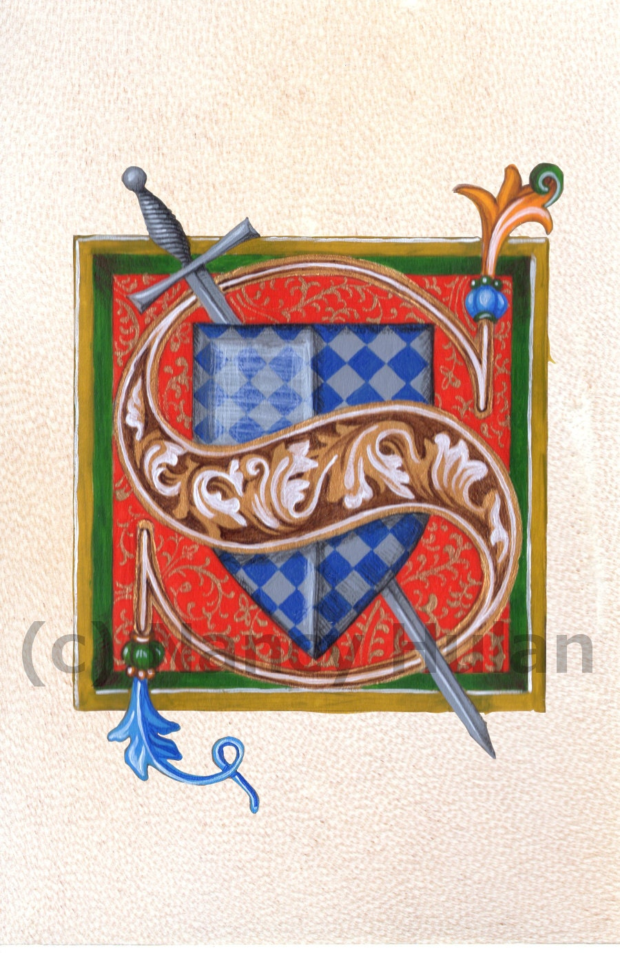 alphabet letter s medieval illuminated letter s painted