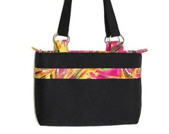 Black Shoulder Bag, Colorful Pink Yellow on Black Handbag, Stylish and Unique Purse for Women, Daily Professional Bag