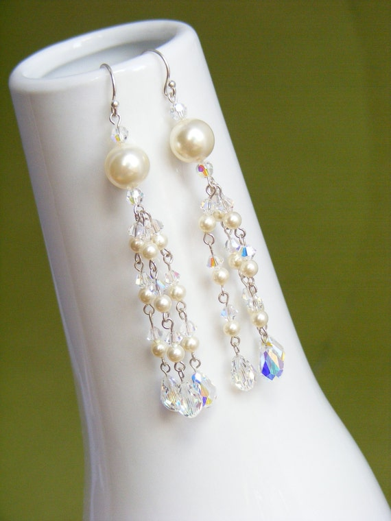 Chandelier wedding earings, wedding jewelry, pearl bridal jewelry, pearl beaded bridal earrings. NATALIE Pearl