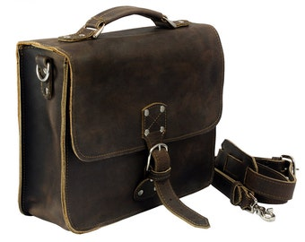 Leather Indiana Jones Bag - Rich Chocolate Brown Distressed, Made in USA!