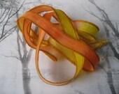 Hand Dyed Painted Habotai Silk Wrap Bracelet - orange yellow - Silk Fairy Ribbon DIY wrap bracelet Silk Bracelet  Ribbon Bracelet