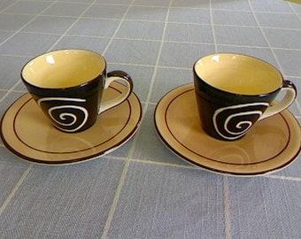 Vintage Modern Demitasse Set of Two / Herman Dodge & Son Inc