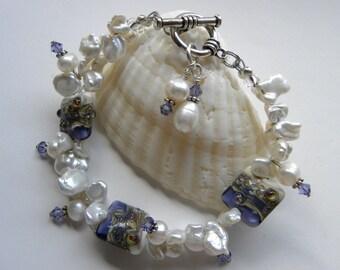 White Keishi Pearl Bracelet with Tanzanite Lamp Work Murano Glass and Genuine Swarovski