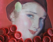 Cherry Red, Rosy Red, Apple Red....lot of 100  vintage red buttons...circa 1940...bakelite era