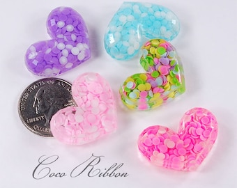 10pcs 30mm Faceted Confetti Petal Heart Flatback Resin Cabochons H02