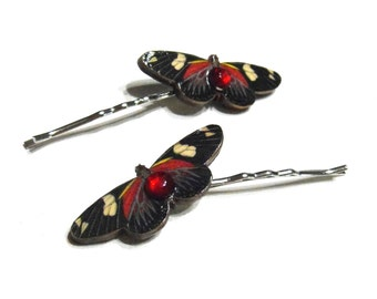 Dramatic Scarlet, Black, Purple and Cream Butterfly Hair Pins - Butterflies, Butterfly Hair Accessories, Teen Girls, Women, Valentines Day
