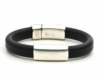 Sleek - black rubber bracelet with magnetic clasp / handmade men's and women's jewelry to benefit JDRF type 1 diabetes research