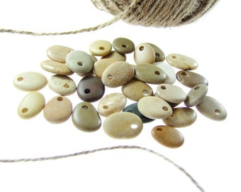 Top Drilled Beach Stones, 33 beads, Bulk Beach Stones, Organic Beads, Jewelry Supplies Sea Rocks ,Beach Pebbles Drilled