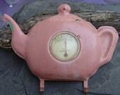 Early Century Teapot Room Thermometer & Pot Holder Hanger Tel-Tru Bakelite Celluloid Pink Green