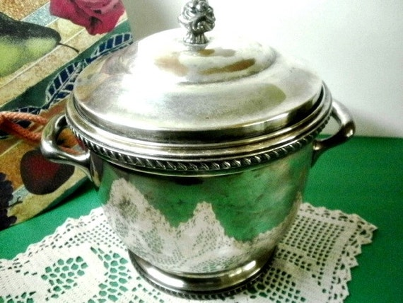 Vintage Poole Silver Co Glass Lined Epc Ice Bucket