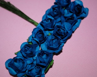 24--ROYAL BLUE--Beautiful mini paper flowers