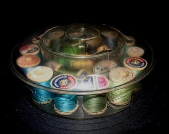 Vintage Thread box - plastic sewing box with wood thread spools and thread-USA