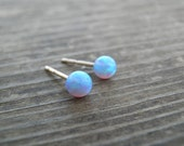 Tiny Opal Stud Earrings, Tiny Ball 4mm 14k Gold Filled Studs, Blue Opal, Gold Opal Posts, Statement Gift, October Birthstone, Bridal Jewelry