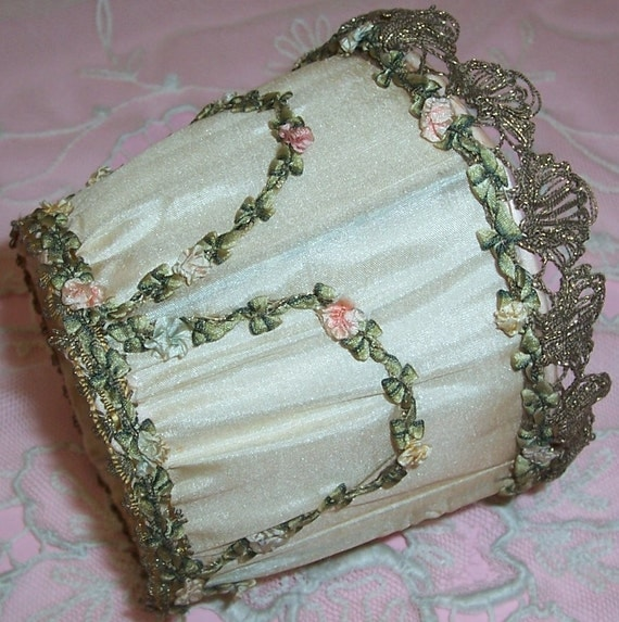 ANTIQUE, French SILK, Metallic Lace & Ribbon Rosette Trim Lamp Shade