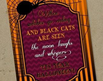Instant Download - DIY Tis Near Halloween Poem Sign