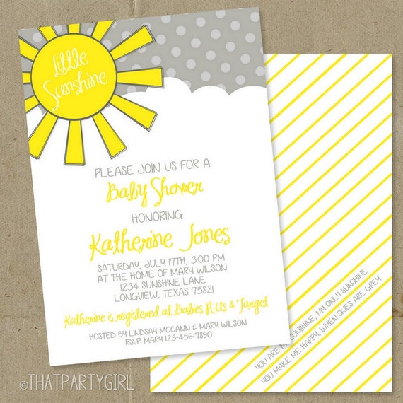you are my sunshine baby shower party invitations diy u print