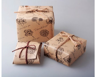 Vintage Flower Wrapping Paper-5sheets (nd065)
