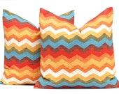 Decorative Throw Pillow Cover One Panama Wave Adobe Pillow Large Scale Chevron Pillow Gold Orange Turquoise
