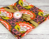 Cloth Napkins 15 Inch Set of 4 in Mod Green Orange Pink Grey Floral