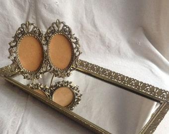 vintage brass double oval ornate picture frame regency oval frame