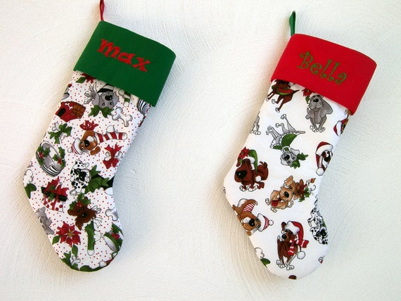 Items similar to personalized dog christmas stockings for for Personalized dog christmas stocking