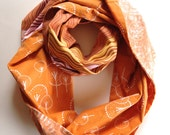Cotton Infinity Scarf: Multi-Pattern Fabric Scarf, Pumpkin and Tangerine