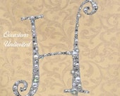 """LARGE  6"""" Silver or Champagne Cake Topper Cake Top Bling Wedding Monogram White & Ivory Pearls Clear Rhinestone"""