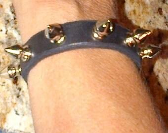Spiked Leather Biker's Bracelet