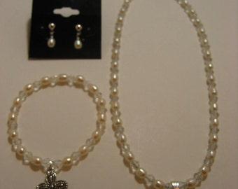 Holy Communion Jewelry Set,Necklace, Bracelet and Earring Set,First Holy Communion,Catholic jewelry,Cross jewelry,Catholic Jewelry Set,