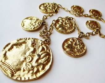 Vintage 60s Long Gold Chain Gypsy Queen Coin Charm Necklace