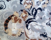 Floral and Cameo Print Knit Fabric 2 1/2 Yards X0274 White, Black, Tan and Brown on Grey Background