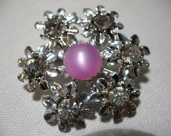 Vintage Flower Brooch with Moonglow Lucite and Rhinestones
