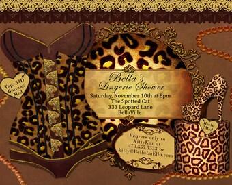 Lingerie Shower Invitation Bachelorette Party Invitations, Animal Print Corset Invitation