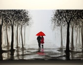 walk in rain,love couple,black white and red,large original abstract painting,36x18 inch,on stretched canvas,wedding gift - maggyart
