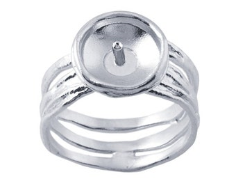 Sterling Silver Textured Pearl Cup Ring Mounting with Peg
