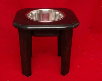 Elevated Large Dog Feeder, Single Bowl, 12 Inchs High, Solid Oak Wood, Two Quart