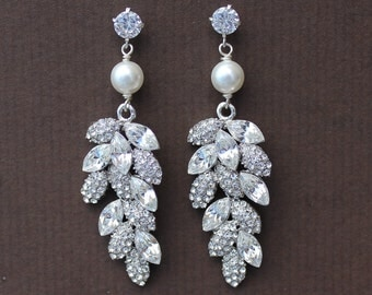 Bridal Chandelier Earrings, Crystal Leaf & Pearl Bridal Earrings, Bridal Jewelry, Wedding Jewelry, TINA