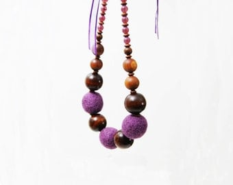 Purple Necklace Felted Ball Necklace Boho Wood Necklace