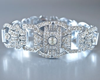 Czech Art Deco Bridal  Bracelet Sparkling 1920's Pave Link Rhinestones Bracelet Large