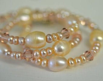 Petal Pink and Peach Freshwater Pearl Necklace with Pewter Toggle Clasp Handmade in Maine from North Atlantic Art Studio by Kimberly